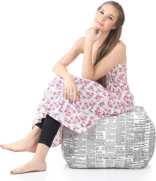 STYLE HOMEZ Large Square Cotton Canvas Newspaper Printed Ottoman Bean Bag Footstool  With Bean Filling