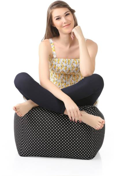 STYLE HOMEZ Large Square Cotton Canvas Polka Dots Printed Ottoman Bean Bag Footstool  With Bean Filling