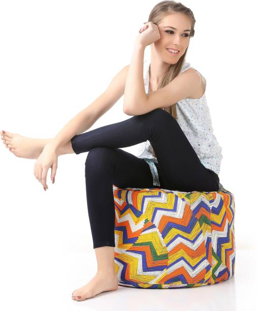 STYLE HOMEZ Large Round Cotton Canvas Geometric Printed Ottoman Bean Bag Footstool  With Bean Filling