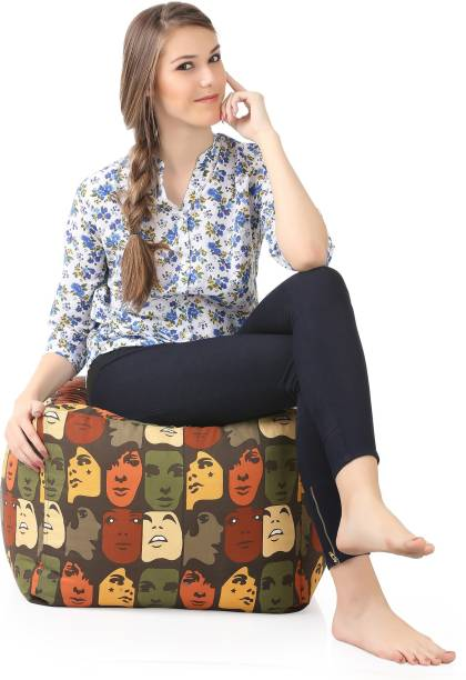 STYLE HOMEZ Large Square Cotton Canvas Abstract Printed Ottoman Bean Bag Footstool  With Bean Filling