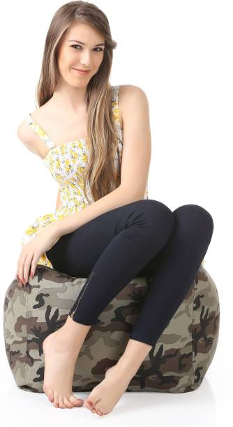 STYLE HOMEZ Large Square Cotton Canvas Camouflage Printed Ottoman Bean Bag Footstool  With Bean Filling