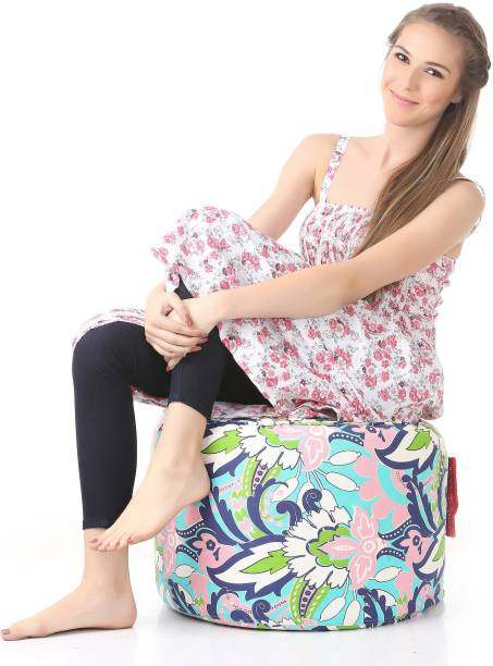 STYLE HOMEZ Large Round Cotton Canvas Floral Printed Ottoman Bean Bag Footstool  With Bean Filling