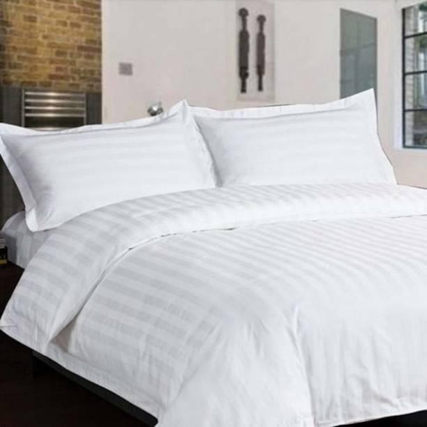 LINENWALAS 300 TC Cotton Double Striped Bedsheet