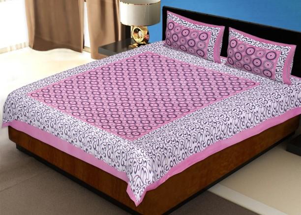 Jaipur Fabric 120 TC Cotton Double Printed Bedsheet