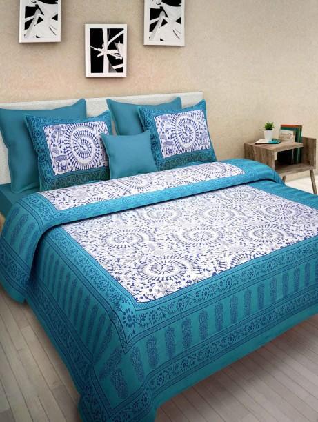 100% Cotton Bedsheet 300 TC Cotton Double King Printed Bedsheet