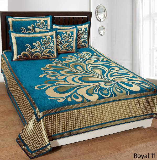 Indiamark 300 TC Velvet Double Floral Bedsheet