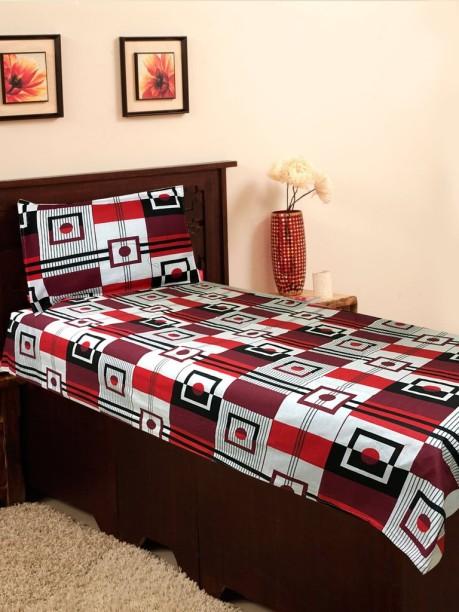 Homefab India 120 TC Cotton Single Checkered Bedsheet