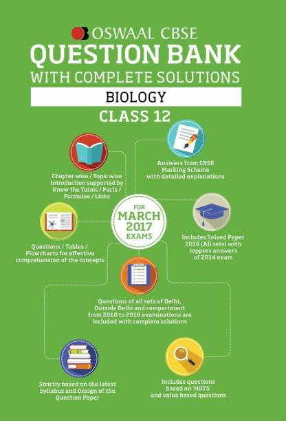 Oswaal CBSE Question Bank with complete solutions for Class 12 Biology (For 2017 Exams)