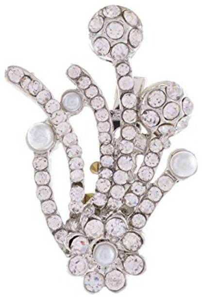 28f427e233b Khubsurat Designer White Stone Stud Saree Pin Brooch For Male & Female,  Silver Tone Brooch