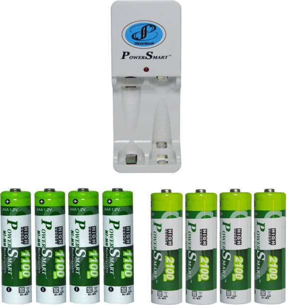Power Smart Fast Charging Unit PS325 Combo With 2Set 2100mahx4 AA And 1100mahx4AAA Cells Camera Battery Charger