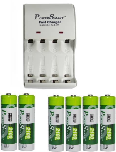 Power Smart Fast Charging Unit PS1002 Combo With 2 Set 2100maHx4 And 2100maHx2 AA Cells  Camera Battery Charger