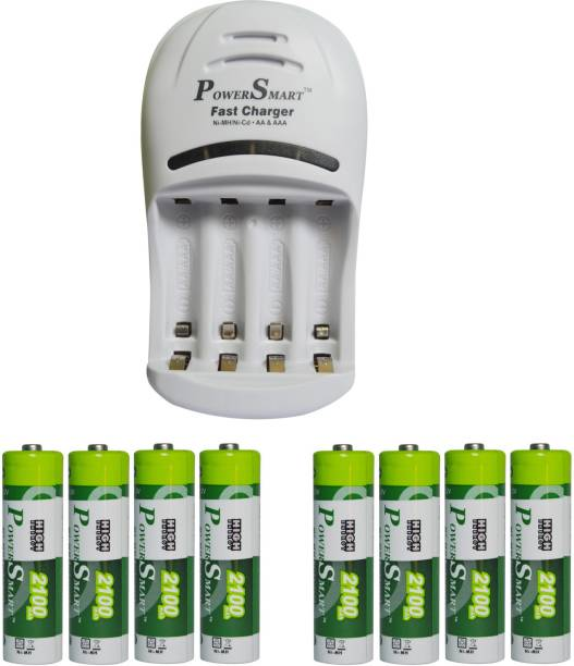 Power Smart Fast Charging Unit PS1007 Combo With 2 Set 2100 maHx4 AA Cells  Camera Battery Charger
