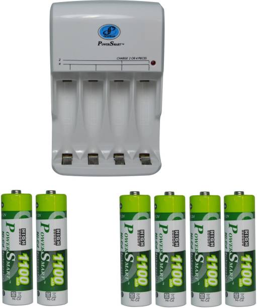 Power Smart Fast Charging Unit PS345 Combo With 2 Set 1100mahx4 And 1100mahx2 AA Cells  Camera Battery Charger