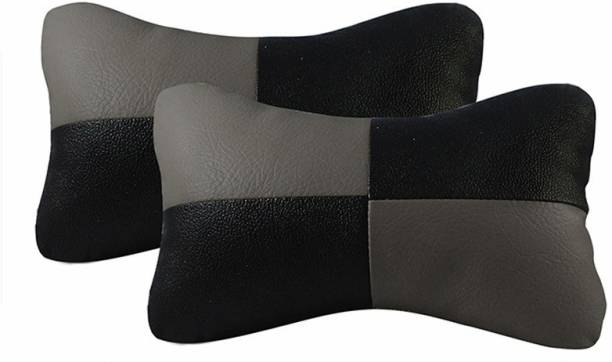 CheckSums Black, Grey Leatherite Car Pillow Cushion for Universal For Car