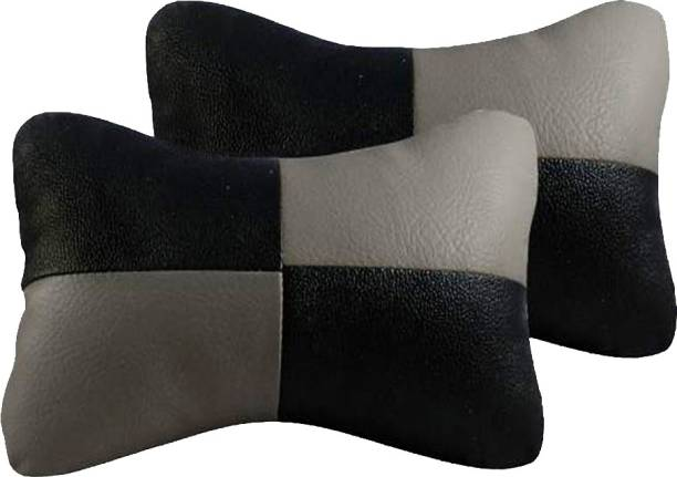 AdroitZ Black, Grey Leatherite Car Pillow Cushion for Maruti Suzuki