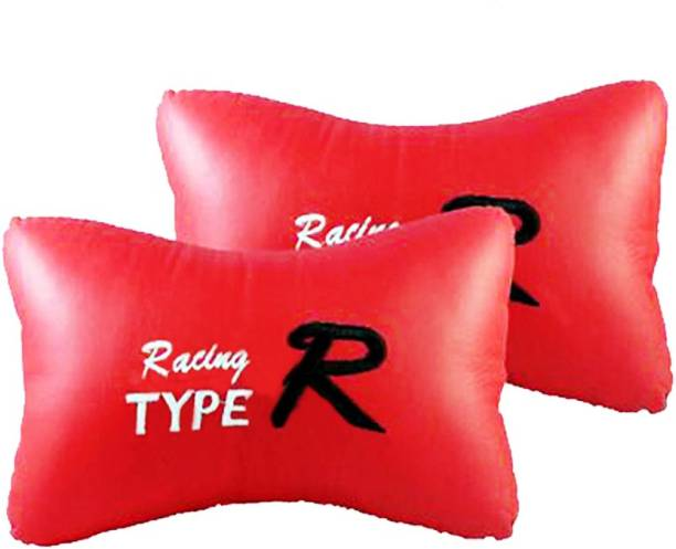 AutoKraftZ Red Leatherite Car Pillow Cushion for Universal For Car