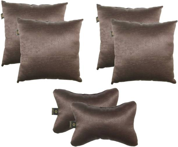 Lushomes Brown Polyester Car Pillow Cushion for Universal For Car