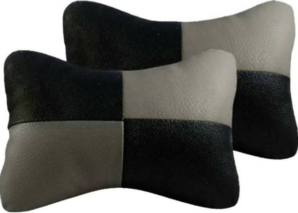 ElectriBles Black, Grey Leatherite Car Pillow Cushion for Maruti Suzuki