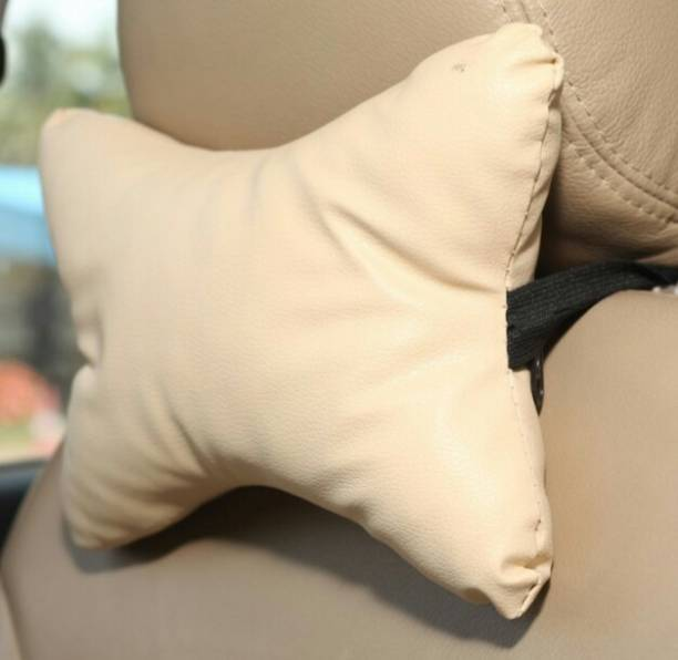 ElectriBles Beige Leatherite Car Pillow Cushion for Maruti Suzuki