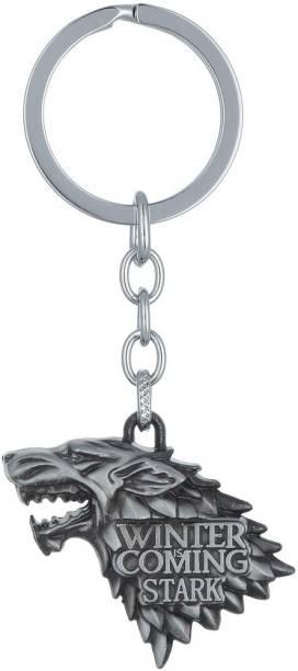 GCT Game of Thrones GOT House Stark Winter is Coming Dire Wolf Head Sigil Silver Metallic Design-4 Key Chain