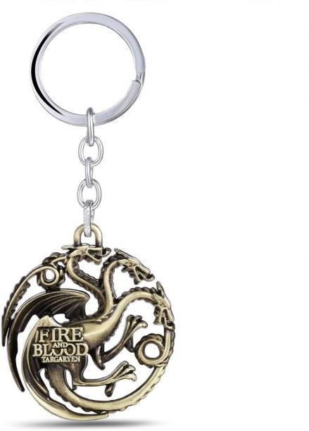 Optimus traders Game of Thrones Fire and blood Targaryen Dynasty Badge 3D metal Key Chain