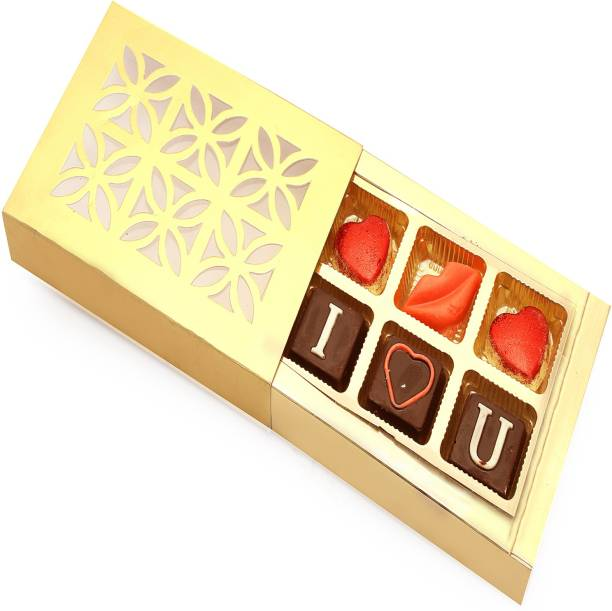 Ghasitaram Gifts Golden 6 Pcs Valentine Special Chocolate Bars