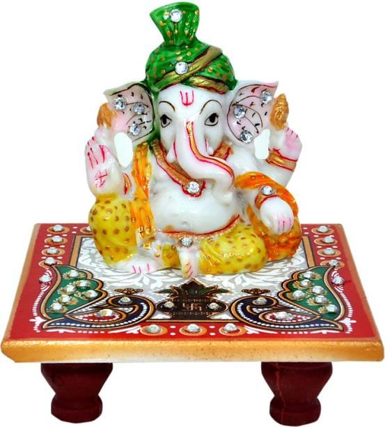 Vaah Meenakari Ganesh Green Pagdi Marble All Purpose Chowki