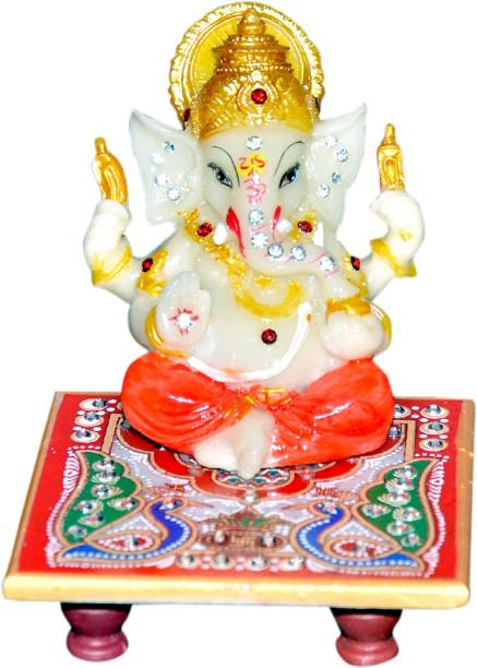 Vaah Meenakari Raja Ganesh Marble Pooja Chowki
