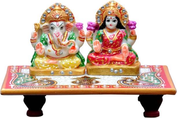 Vaah Meenakari Laxmi Ganesh Kalash Peacock Marble All Purpose Chowki