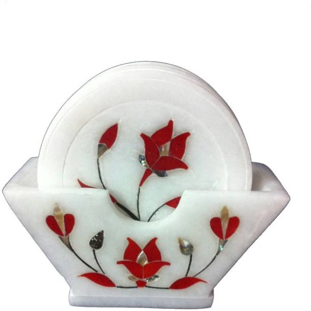 UNIQUE HANDICRAFTS Round Marble Coaster Set