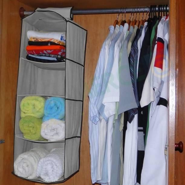 HOKiPO Hanging 4-Shelf Closet Cotton Collapsible Wardrobe