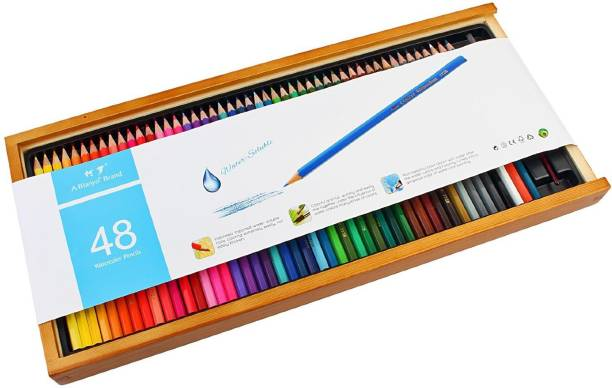 Bianyo artist quality watercolor 48 pencil set with free blending brush in wooden case hexagonal shaped