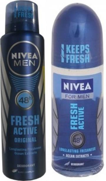 NIVEA Fresh Active Orignal Body Spray,Fresh Active Roll On