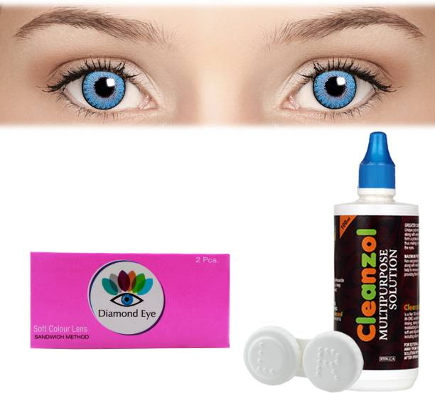 9bc914255a7 Diamond Eye 3 tone Blue with LensCareKit By Visionsindia Quaterly Contact  Lens
