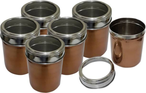 b9031f6cb Dynore Set of 6 Copper color canisters with see through lid - 1000 ml Steel  Grocery