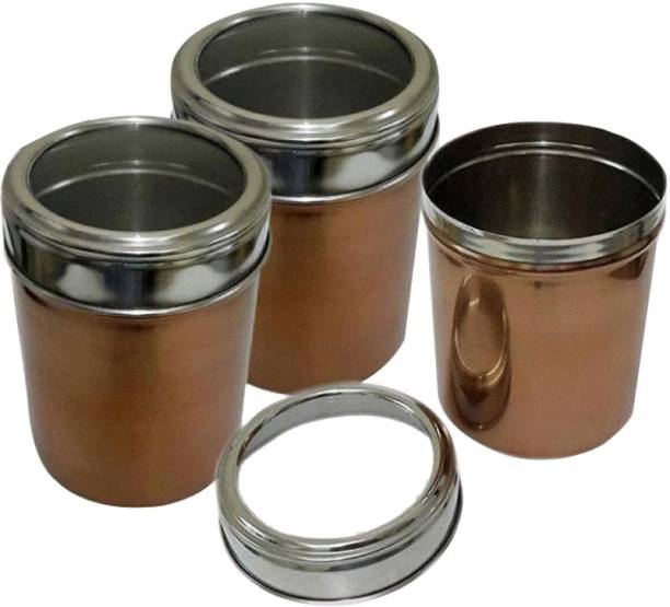43f9e509d Dynore Set of 3 Copper color Kitchen storage canisters with see through lid  - 1000 ml