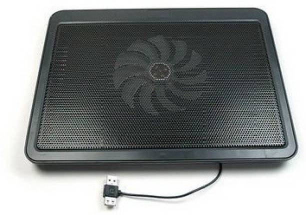 De TechInn USB Powered Metal Body Big Fan Stand For Laptop Notebook Blue Light 1 Fan Cooling Pad