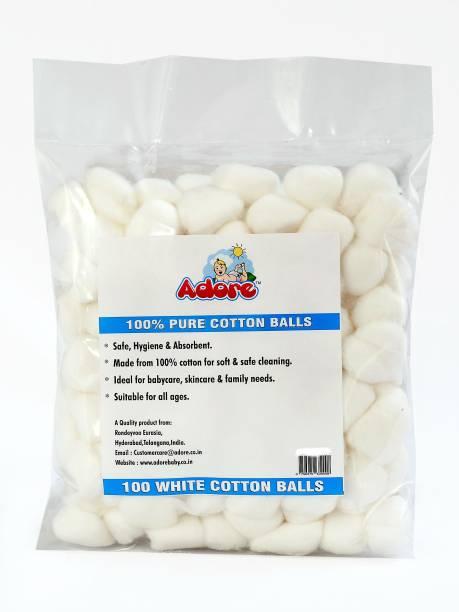 Adore 100% Pure Cotton Balls White - Pack of 100