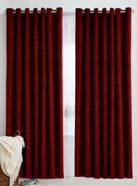 Panipat Textile Hub 213 cm (7 ft) Polyester Door Curtain (Pack Of 2)