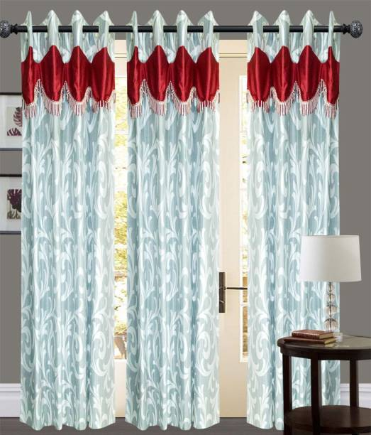 New Ladies Zone 210 cm  7 ft  Polyester Door Curtain  Pack Of 3  Floral, Silver