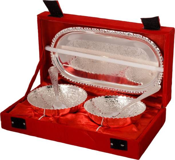 Being Nawab Pack of 5 Silver Plated Silver Handcrafted Dinner Set