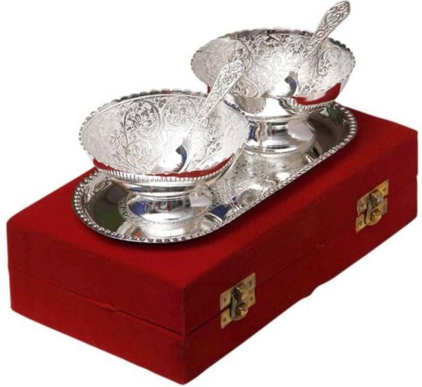 Being Nawab Silver Bowl Set Bowl, Tray, Spoon Serving Set