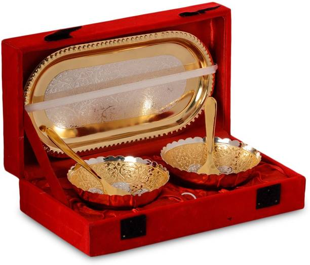 Handicraft Décor India Pack of 5 Silver Plated Gold and Silver plated Bowl with serving spoons and Tray set of 5Pcs.. (Dryfruit Bowl,Corporate, Diwali,Weeding Gifting Etc.) Dinner Set