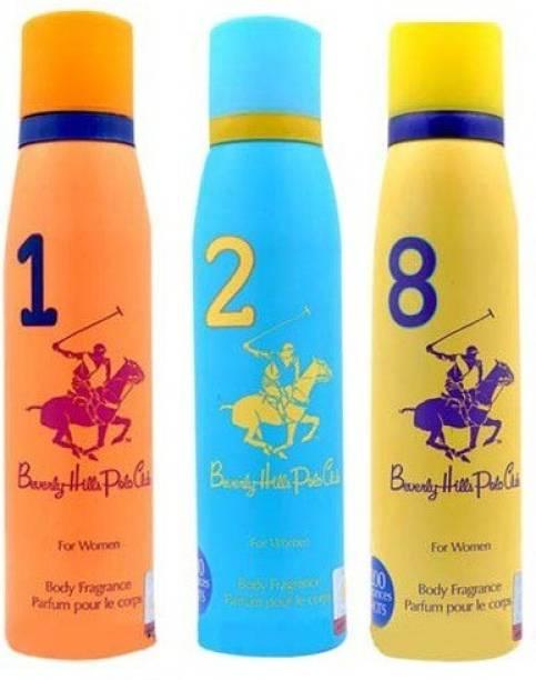 BEVERLY HILLS POLO CLUB Women Deo no. 1, 2, 8 Deodorant Spray  -  For Women