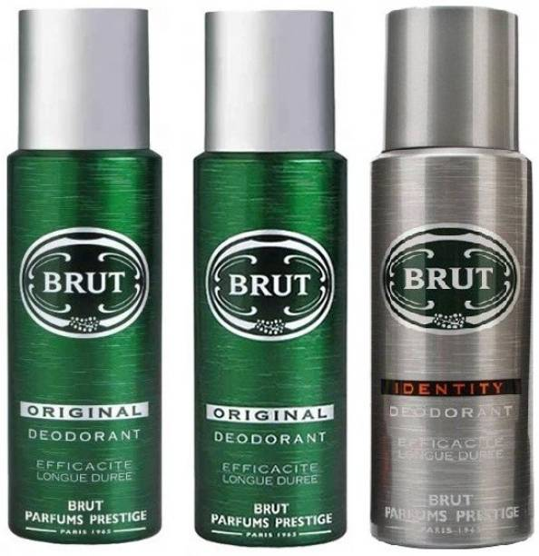 BRUT 2 Original & 1 Identity Deodorant Spray  -  For Men