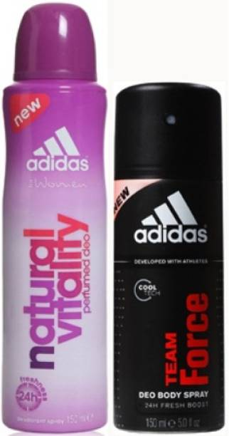 ADIDAS Natural Vitality and Team Force Deodorant Spray  -  For Men & Women