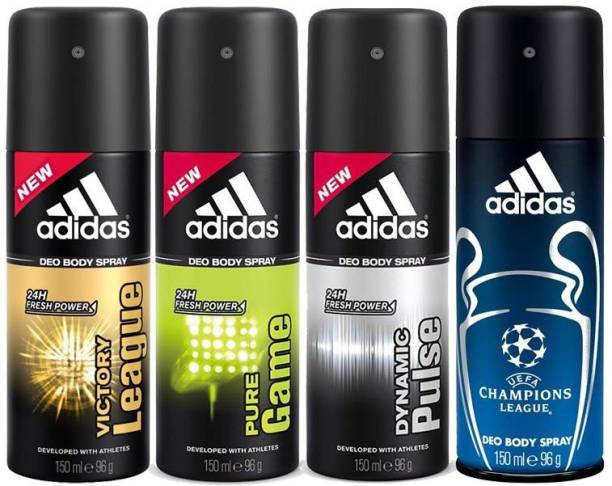 ADIDAS deodorants body sprays pack of 4 Deodorant Spray  -  For Men