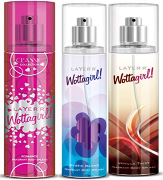 LAYER'R Layer'r Wottagirl Romance, Mystic Island, Vanilla Twist Body Spray(Set of3) 135 ml Each Deodorant Spray  -  For Women