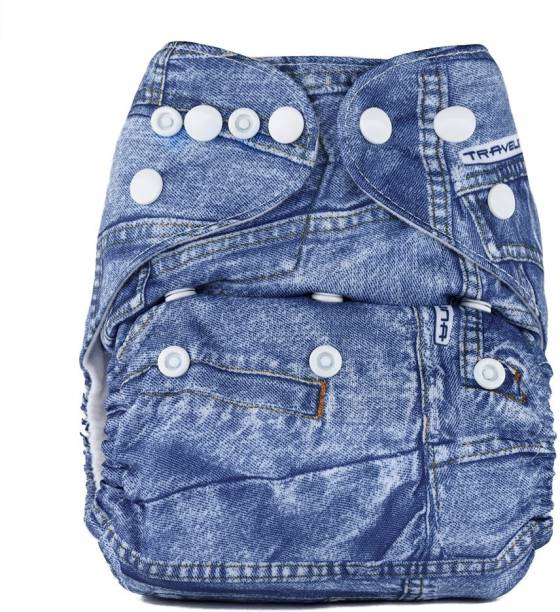 bumberry Adjustable Denim Print Reusable Pocket Diaper With 1 Wet Free Insert For Babies (3-36 Months)