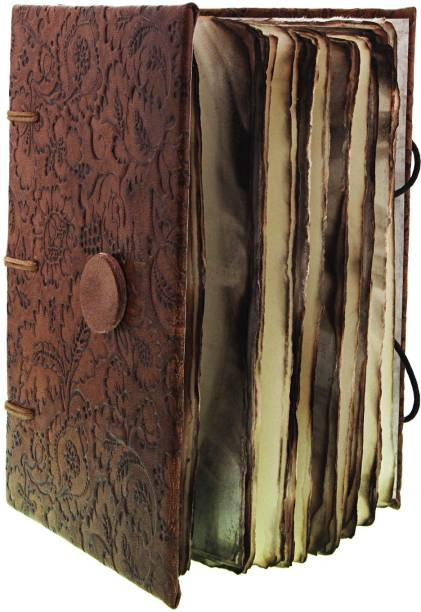 CRAFT CLUB Leather Embossed Diary With Antique Paper In Special Binding Regular Notebook Unruled 144 Pages